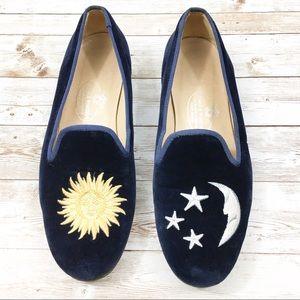 Stubbs & Wootton Sun and Moon Velvet Loafers 7.5